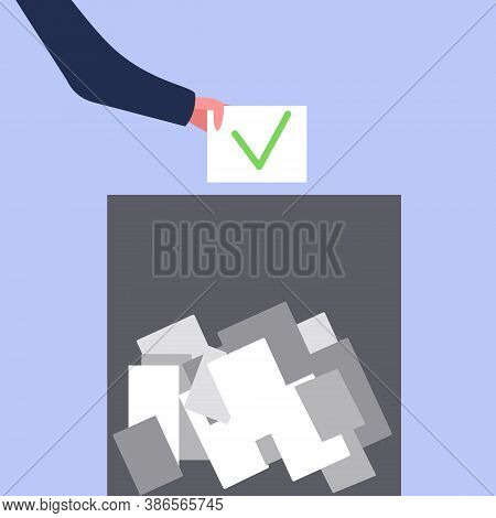 Hand Dropping The Ballot Into The Ballot Box, The Concept Of Choice