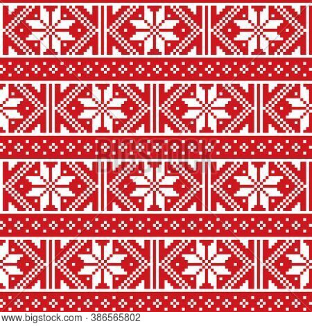 Christmas Winter Fair Isle Style Traditional Knitwear Vector Seamless Pattern From Scotland, Knit Re
