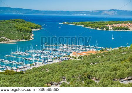 Marina And Blue Bay On The Island Of Cres In Croatia, Beautiful Seascape