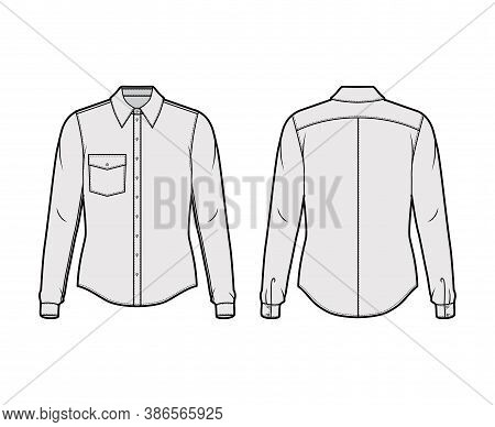Classic Shirt Technical Fashion Illustration With Long Sleeves With Cuff, Front Button-fastening, An