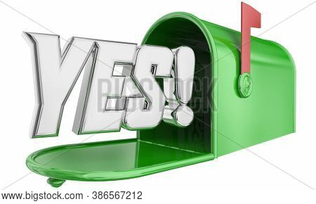 Yes Mailbox Message Delivery Answer Response Approval 3d Illustration