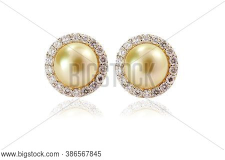 Yellow Pearl Earring With Prong Studded Diamond Halo Earring In Yellow Gold