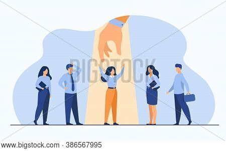 Employer Choosing Best Professional In Group Of Candidates, Giving Hand To Woman Under Spotlight. Ve