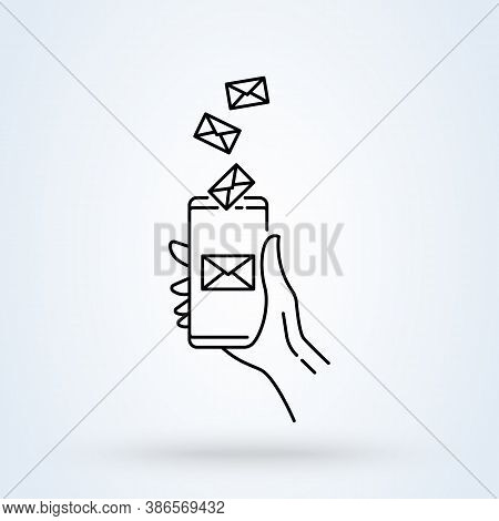 Hand Holding The Smartphone With E-mail Sign Line Icon Or Logo. Email Notification On Smartphone Scr