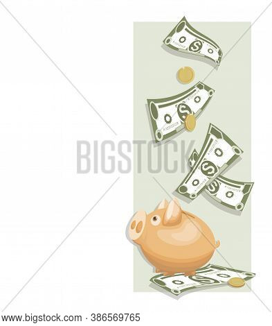 Dollars. Cash Piggy Bank. Money, Gold Coins. Cash Collecting Billfold On White Background. American