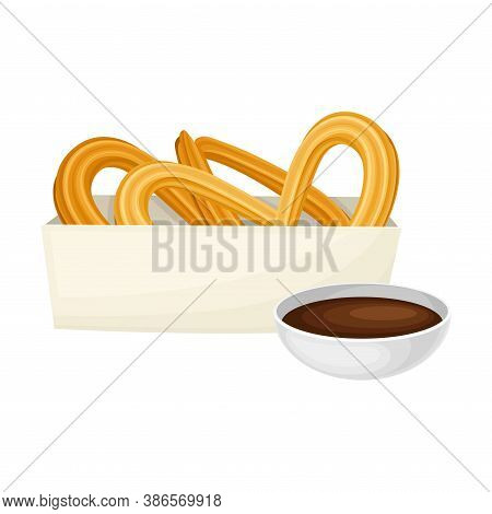 Churros From Choux Pastry With Hot Chocolate As Spanish Cuisine Dessert Served On Plate Vector Illus