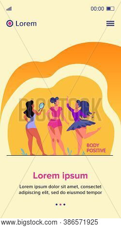 Happy Girls Admiring Their Bodies Flat Vector Illustration. Body Positive Female Characters Smiling