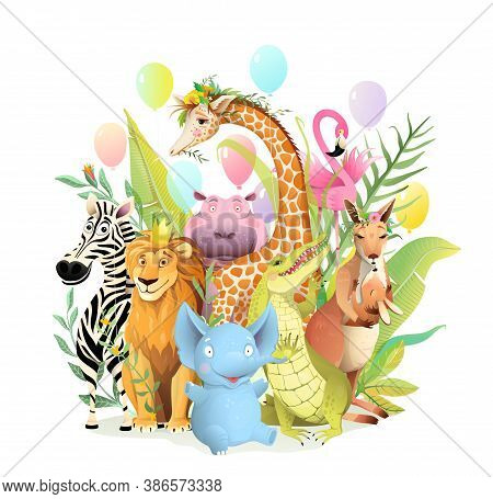 Group Of African Safari Animals Celebrating Birthday Or Other Party Event, Congratulation Greeting C