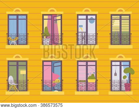 Concept Illustration With Various French Balcony In One Multy-storey House. Yellow Wall, Different I