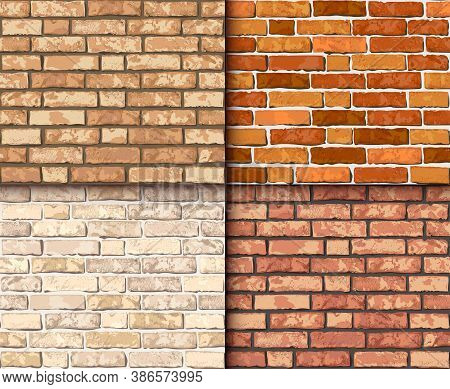 Vector Realistic Brick Wall Seamless Pattern Set. Flat Wall Repeat Texture. Yellow, Red, Orange Text