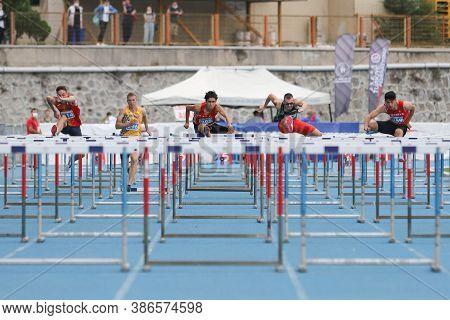 Istanbul, Turkey - September 13, 2020: Athletes Running 100 Metres Hurdles During Balkan U20 Athleti