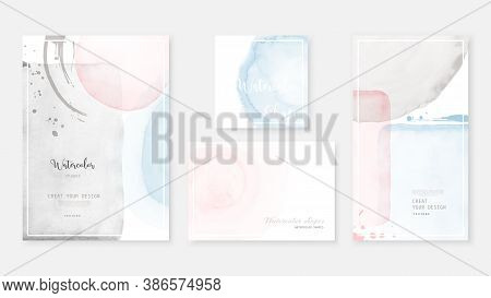 Creative Abstract Template Background Set With Shapes Of Pastel Watercolor.  Artistic Stain Vector G