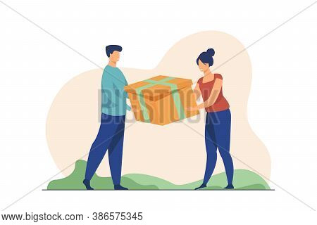 Couple Holding Gift. Man And Woman Competing For Present, Pulling Box Flat Vector Illustration. Conf