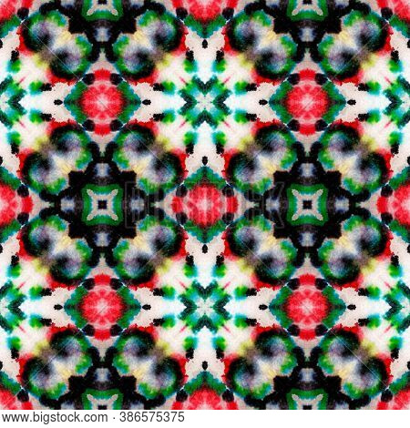 Aztec Rugs. Abstract Batik Motif. Repeat Tie Dye Rapport. Ikat Asian Design. Black, Green Seamless T