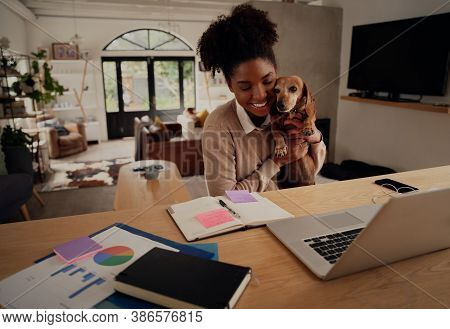 Young African Woman Embracing Pet Dog While Working On Laptop At Home