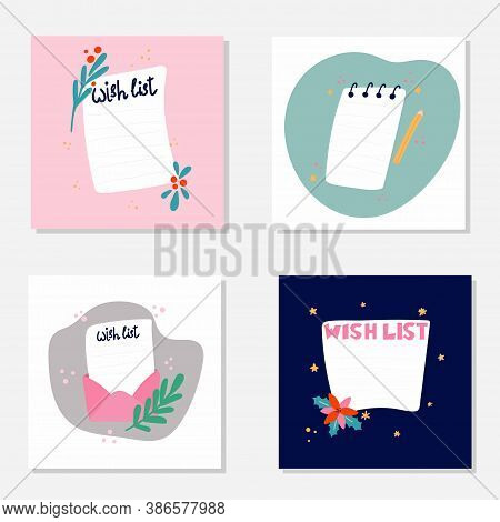Blank Wish List Templates. Journal Page Design With Lettering And Leaves, Flowers And Berries On Pin