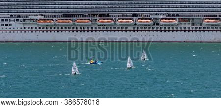Portland Harbour, United Kingdom - July 2, 2020: High Angle Aerial Panoramic Shot Of The Laser Class
