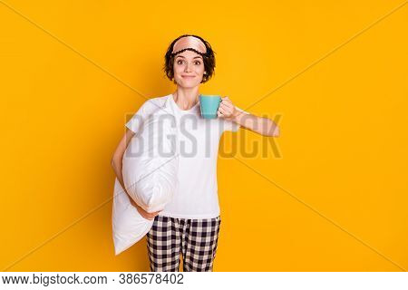 Photo Of Pretty Cheerful Lady Hold Hands Big Pillow Drink Hot Mug Beverage Morning Quarantine Stay H