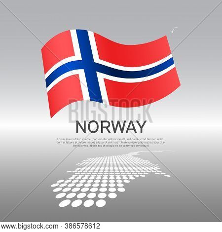 Norway Wavy Flag And Mosaic Map On Light Background. Creative Background For The National Poster Of
