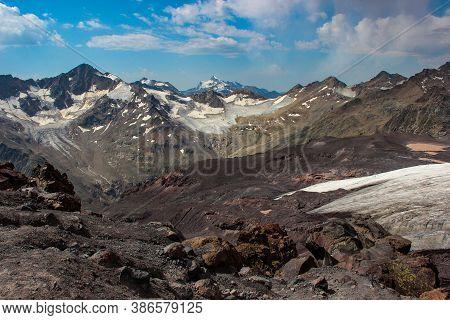 Elbrus Area, Greater Caucasus Range. Elbrus, Mountains In Summer. Greater Caucasus Mountains From Mo