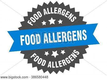 Food Allergens Round Isolated Ribbon Label. Food Allergens Sign