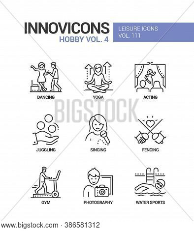 Hobby And Activities - Line Design Style Icons Set
