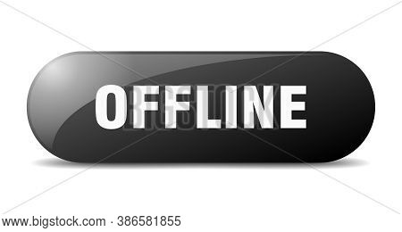Offline Button. Rounded Glass Sign. Sticker. Banner