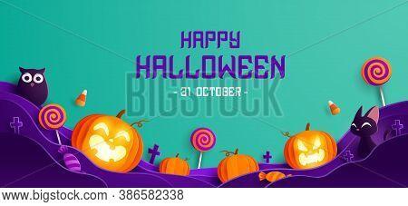 Paper Graphic Of Happy Halloween Fun Party Celebration Background Design. Halloween Elements.