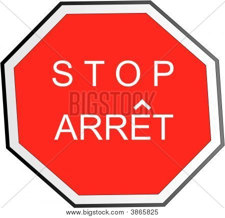 Bilingual Signage For Stop