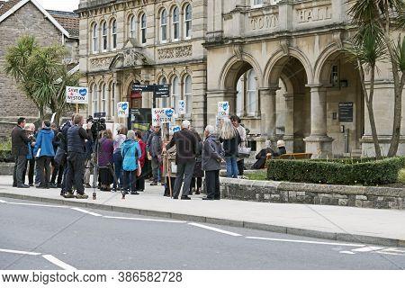 Weston-super-mare, Uk - September 30, 2019: Demonstrators Protest Against Bristol, North Somerset An