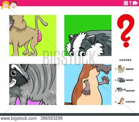 Cartoon Illustration Of Educational Task Of Guessing Animal Species Worksheet Or Application For Chi