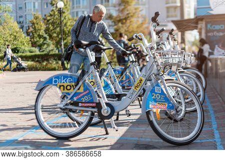 Kyiv, Ukraine - September 09, 2020: Rental Bicycles Of Company Bike Now. Ukrainian Bike Rental On Sp