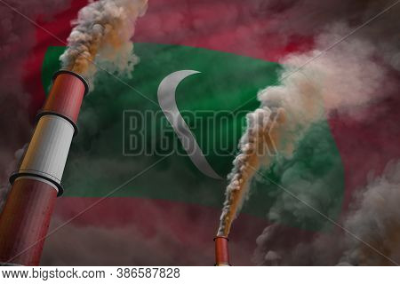 Pollution Fight In Maldives Concept - Industrial 3d Illustration Of Two Huge Industrial Pipes With D