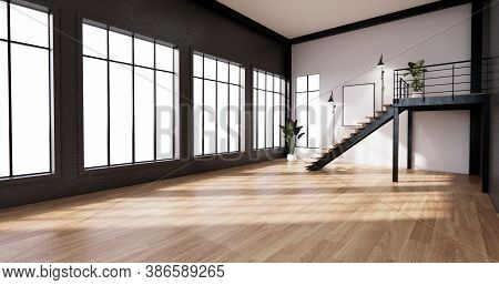 The Interior ,modern Loft Style Living Interior Design. 3D Rendering