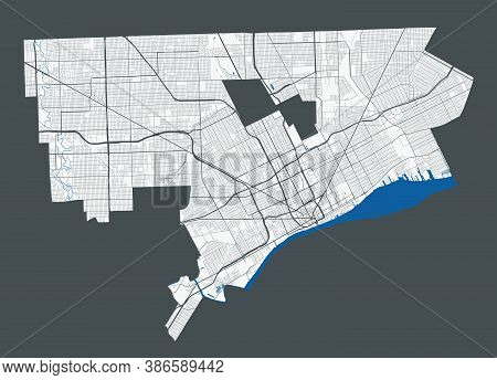 Detroit Map. Detailed Map Of Detroit City Administrative Area. Cityscape Panorama. Royalty Free Vect
