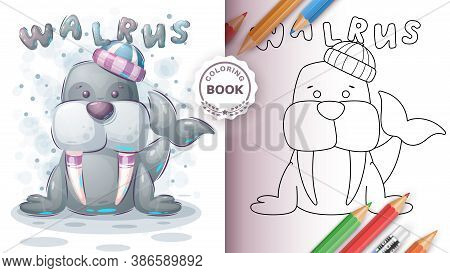 Adorable Walrus - Coloring Book For Kid And Children. Vector Eps 10
