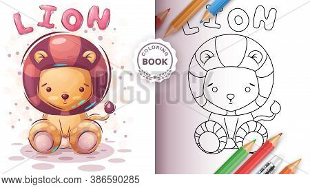 Teddy Lion - Coloring Book For Kid And Childrenvector Eps 10