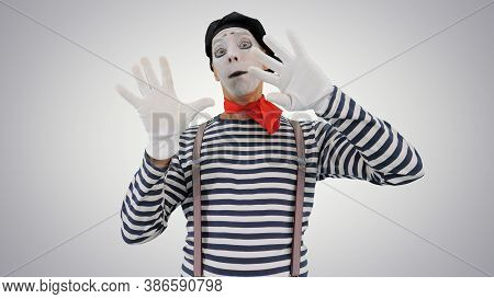 Mime Holding Touching Imaginary Wall And Making Imaginary Bird O
