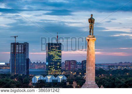 Skyline Of New Belgrade (novi Beograd) Seen By Night From The Kalemegdan Fortress