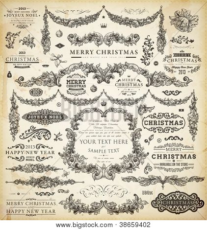 Christmas decoration collection | Set of calligraphic and typographic elements, frames, vintage labels, ribbons, borders, holly berries and Xmas balls. All ornaments for holiday invitation design.