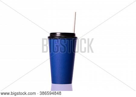 Blue Take Away Disposable Paper Coffee Cup With Plastic Cap And White Paper Straw Isolated On White