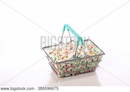 Full Basket Of Colorful Pills, Drugs Top View Copy Space. Drug, Medicine Addiction, Placebo, Magic P