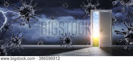 Open Door For Exit From Stormy Room With Coronavirus - Contain 3d Illustration