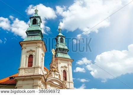 Two Steeples Of The Church Of St. John Of Nepomuk On The Rock. Prague, Czech Republic