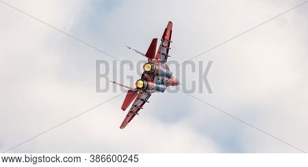 Barnaul, Russia - September 19, 2020: A Close-up Shot Of Strizhi Mig-29 Fighter Jet Performing Stunt