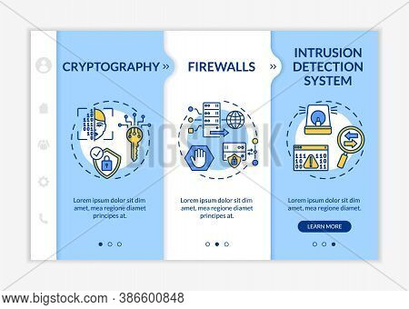 Cyber Security Solutions Onboarding Vector Template. Encryption. Firewalls. Intrusion Detection Syst