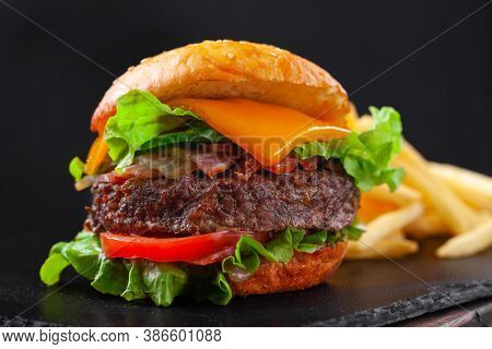 Beef Burger With French Fries, Beef Cutlet, Cheese, Vegetables