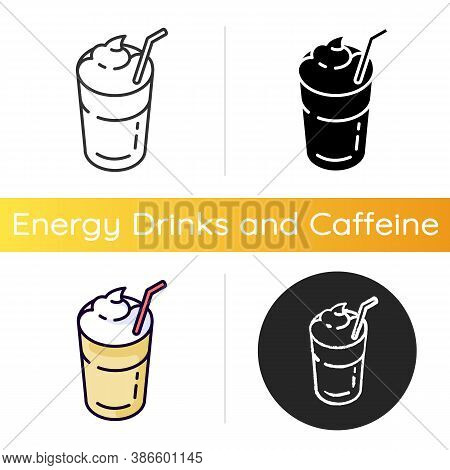 Mocha Icon. Coffee Drink With Foam And Straw. Beverage In Glass Mug. Cafe Menu. Refreshement From Re