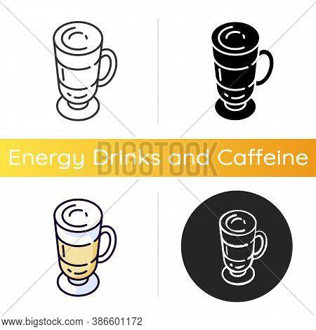 Frappe Icon. Layered Drink In Glass Mug. Macchiato In Mug. Cafe Menu. Coffee With Foam. Beverage Wit