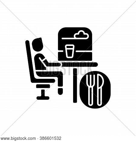 Dining Car Black Glyph Icon. Traveling With Comfort, Train Restaurant. Train Service, Onboard Buffet
